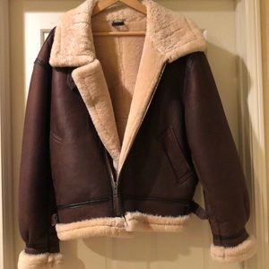 100% Shearling winter bomber jacket
